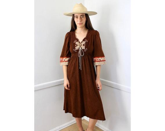 Young Edwardian Dress // vintage 70s boho hippie 1970s hippy sun country empire waist prairie brown midi floral Gunne Sax style // S Small
