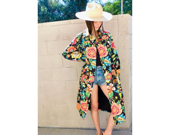 Donald Brooks Coat // vintage 60s floral 70s jacket boho hippie mod hippy dress spring twiggy 1960s // S Small