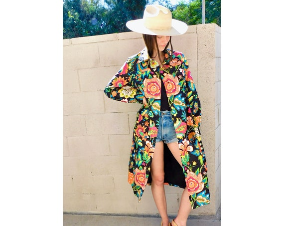 Donald Brooks Coat // vintage 60s floral 70s jacket boho hippie mod hippy dress spring twiggy 1960s // S Small