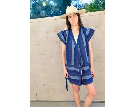 Indigo Wrap Kimono // vintage dress boho hippie tunic blouse striped robe navy blue cotton // S/M