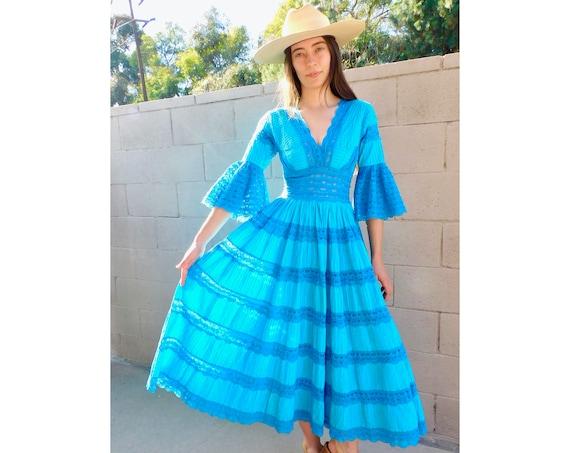 Tulum Tiered Dress // vintage 70s 1970s boho hippie blue turquoise midi Mexican wedding hippy empire high waist // XS X-Small