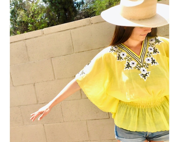 Lemonade Mexican Blouse // vintage cotton boho hippie Mexican embroidered dress hippy yellow // O/S