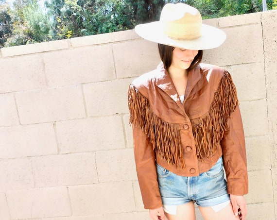 Pioneer Wear Jacket // vintage 70s 80s brown southwestern leather boho country western hippie dress fringe cropped // O/S