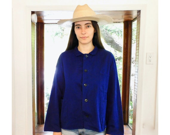 French Chore Coat // vintage 70s dark hippy jean jacket boho hippie blouse shirt dress 1970s denim work painters indigo // O/S