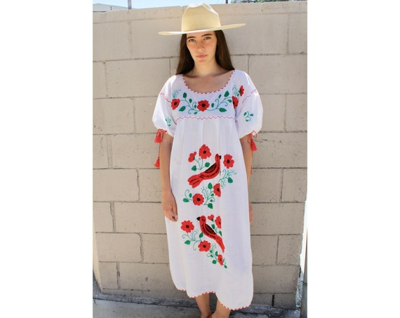 Mexican Robin Dress // vintage 70s hand embroidered boho hippie white red bird 1970s cotton midi Mexican hippy // O/S