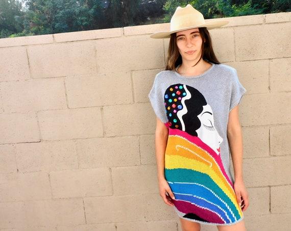 Bonnie Boerer Knit Dress // vintage 80s 1980s rainbow novelty sweater boho hippy hippie tunic blouse mini silver party // S/M