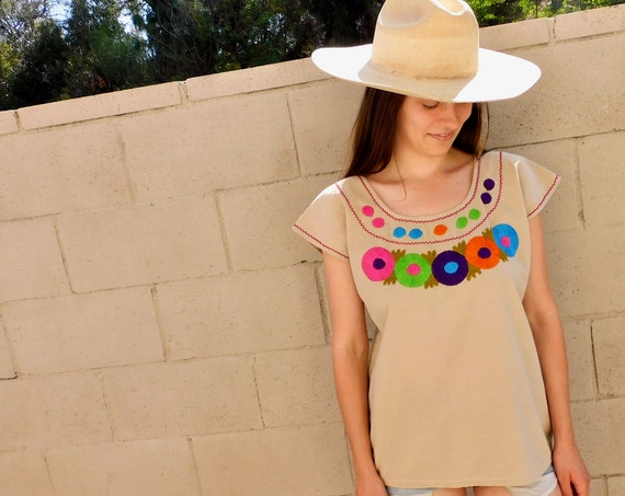 Hand Embroidered Mexican Blouse // vintage cotton boho hippie Mexican embroidered dress hippy // O/S