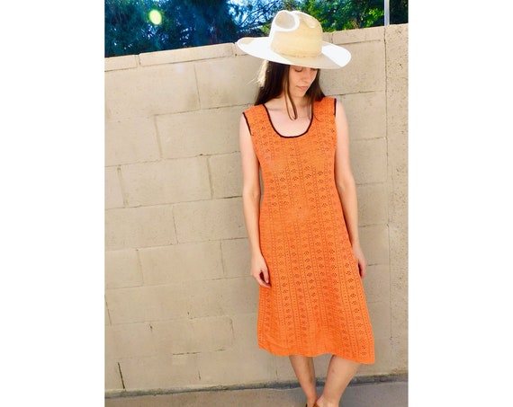 Hand Crocheted Dress // vintage 70s 1970s orange cotton boho hippie hippy midi sun // S/M