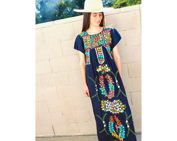 Oaxacan Dress // vintage sun Mexican hand embroidered floral 1970s boho hippie cotton hippy black // S Small