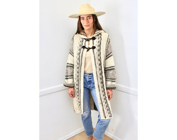 United Colors of Benetton Cardigan // vintage hood knit boho hippie dress blouse space dye hippy sweater 80s 90s tunic white brown // S/M