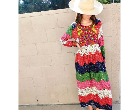 Afghan Dress // vintage 70s 1970s embroidered boho hippie empire waist maxi hippy // S/M