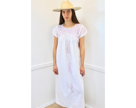 Oaxacan Dress // vintage 70s sun Mexican hand embroidered floral maxi 1970s boho hippie cotton hippy white // O/S