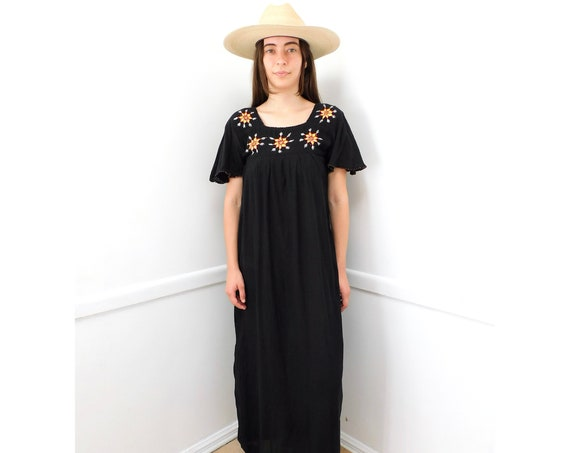 Indian Midnight Sun Dress // vintage 70s boho hippie hand embroidered 1970s cotton black maxi hippy // S Small