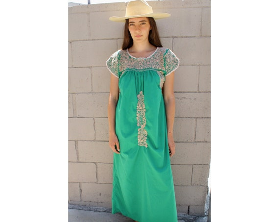 Oaxacan Dress // vintage 70s sun Mexican hand embroidered floral maxi 1970s boho hippie cotton hippy green // O/S