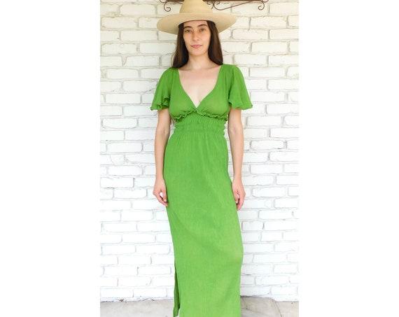 Indian Gauze Dress // vintage boho cotton sun maxi hippie hippy green 70s 1970s gauze caftan kaftan // S/M