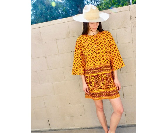 Indian Cider Dress // vintage 70s hand blocked blouse boho hippie hippy 1970s cotton orange tunic mini sun // S/M