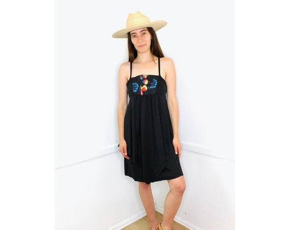 Amber Waves Dress // vintage sun floral 1970s boho hippie hippy black // S Small
