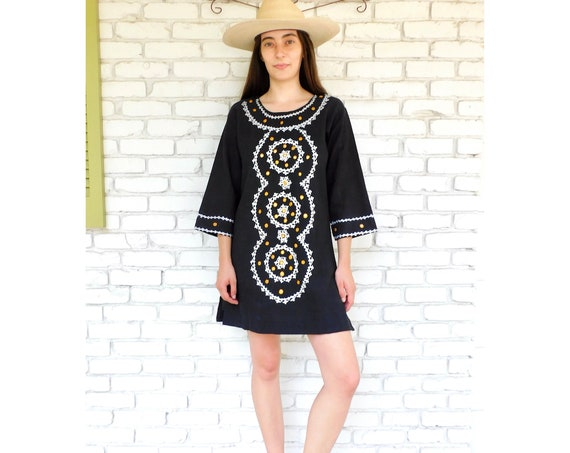Indian Hand Embroidered Tunic // vintage 70s embroidered black dress blouse boho hippie hippy 1970s woven cotton mini // S/M