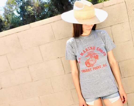 US Marine Corps Shirt // vintage 70s 80s cotton boho grey USA military Marines tee t-shirt military t top blouse thin hippy corp // S Small