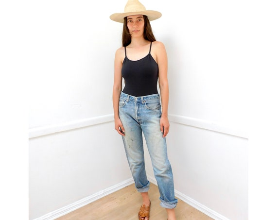 Casey Levi's 501 Jeans // vintage USA faded Levis medium light wash grunge distressed Levi 80s 90s hippy 31 X 30 // S Small 26 27