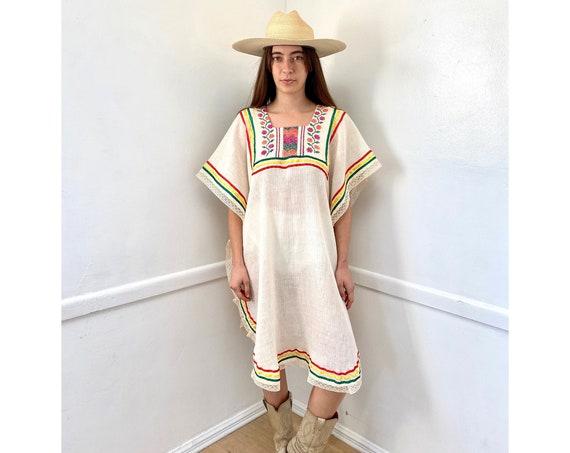Oaxaca Dress // vintage 70s lace 1970s boho hippie hippy midi white hand loomed embroidered // O/S