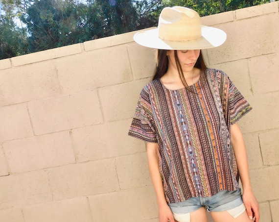 Ikat Handwoven Blouse // vintage 70s 80s boho hippie Mexican dress huipil hippy hand woven cotton cropped Guatemalan // O/S