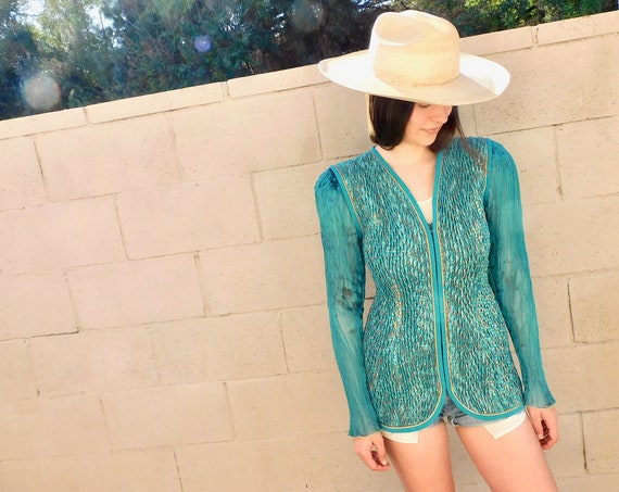 Jeanne Marc Jacket // vintage 80s dress hippie blouse top blazer glam // XS/S