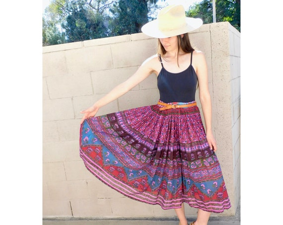 Indian Gauze Skirt // vintage 70s hippy cotton gauze dress boho hippie 1970s floral maxi sun high waist // O/S