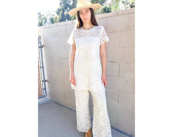 Lace Two-Piece Set // vintage pants bell bottoms blouse hippy high waist white boho hippie mini dress hippy 70s wedding // O/S