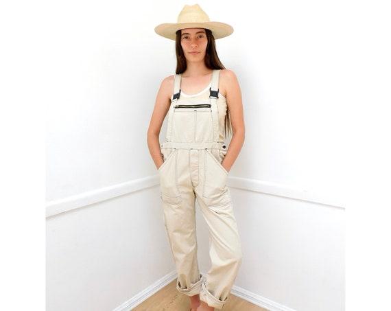 Chore Overalls // vintage 70s denim boho hippie jeans pants dress work wear jumpsuit workwear cream // O/S