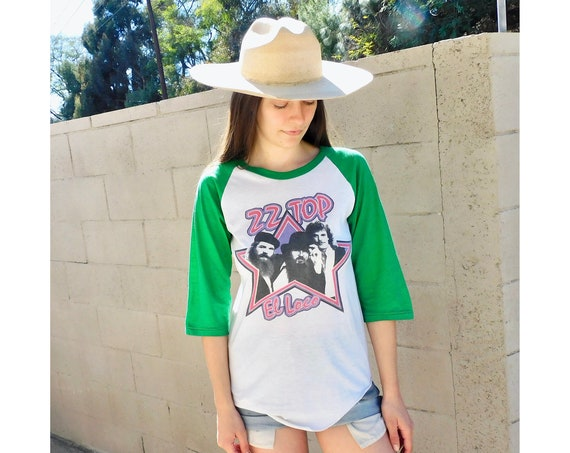 ZZ Top 1982 El Loco Concert Tee // vintage 1980s 80s music tour jersey dress boho t-shirt white // S/M