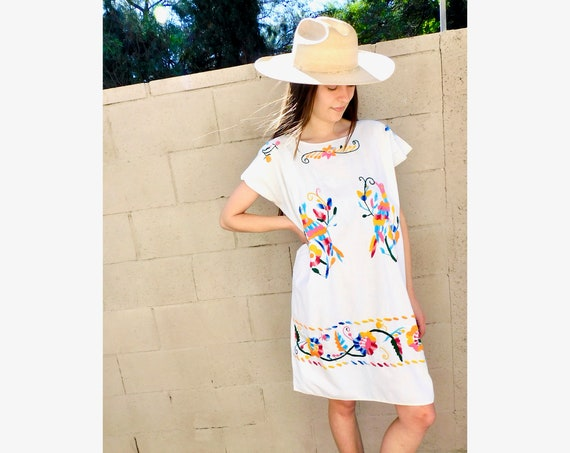 Rainbow Bird Dress // vintage sun Mexican hand embroidered floral 1970s boho hippie cotton hippy midi white // O/S
