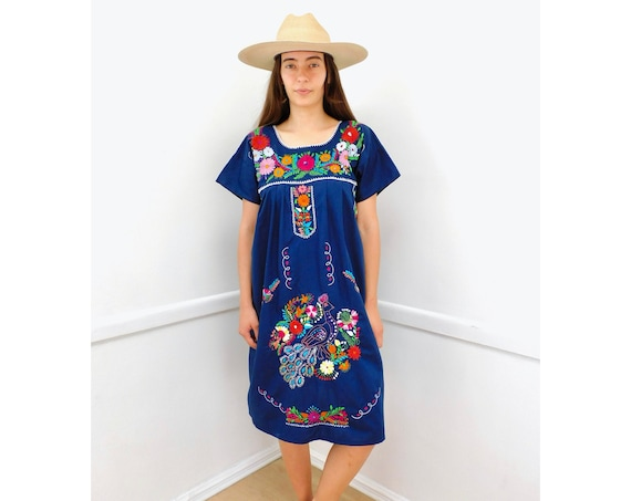 Quito Dress // vintage 70s Mexican hand embroidered midi 1970s boho hippie cotton hippy blue // O/S