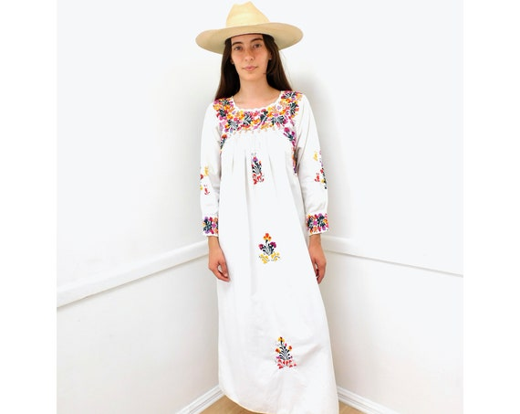 Oaxacan Dress // vintage 70s sun Mexican hand embroidered floral 1970s boho hippie cotton hippy maxi white // S/M