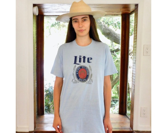 Lite Beer Shirt // vintage 70s 80s cotton boho tee t-shirt t top blouse thin hippy a fine pilsner beer // O/S