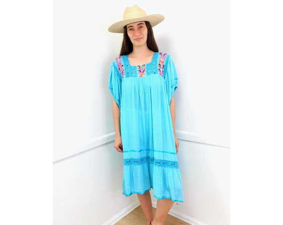 Mexican Crochet Hand Embroidered Dress // vintage 70s 1970s cotton boho hippie Mexican crochet embroidered turquoise dress hippy // O/S