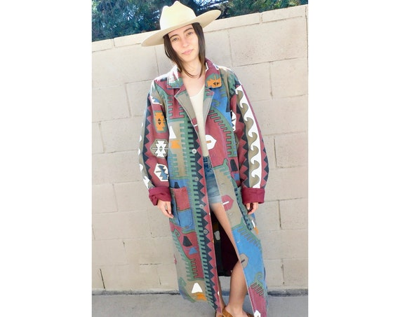 Joshua Tree Southwestern Coat // vintage 80s 1980s jean boho dress 90s jacket oversize denim southwest trench jean // O/S