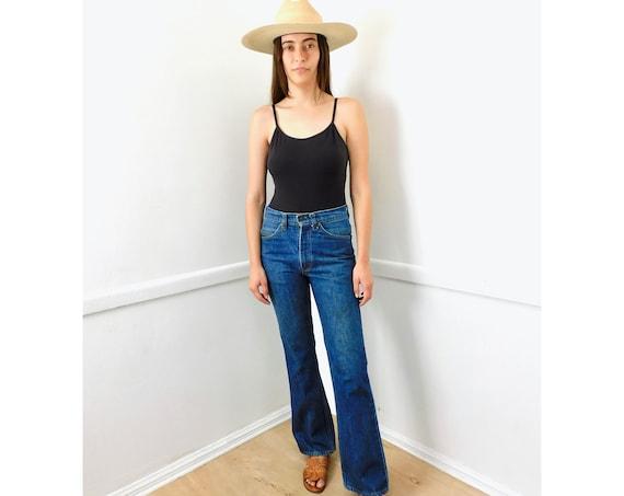 Levis 517 Jeans // vintage Levi's USA boho hippie Levi orange tab medium dark wash bell bottom bottoms hippy 70s 1970s 29 X 32 // 26