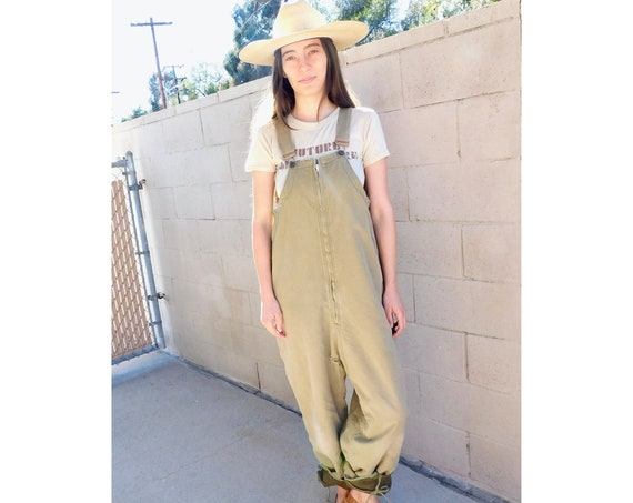 Military Bibs // vintage overalls chore 70s denim boho hippie jeans pants dress work wear jumpsuit workwear painter's painters khaki // O/S