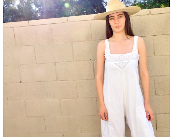 Victorian Romper // vintage Edwardian jumpsuit Victorian boho hippie shorts dress cotton hippy white nightgown sleepwear // O/S