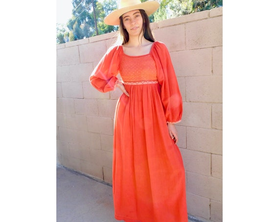 Afghan Dress // vintage 70s 1970s crochet embroidered boho hippie empire country waist maxi hippy cotton // XS X-Small