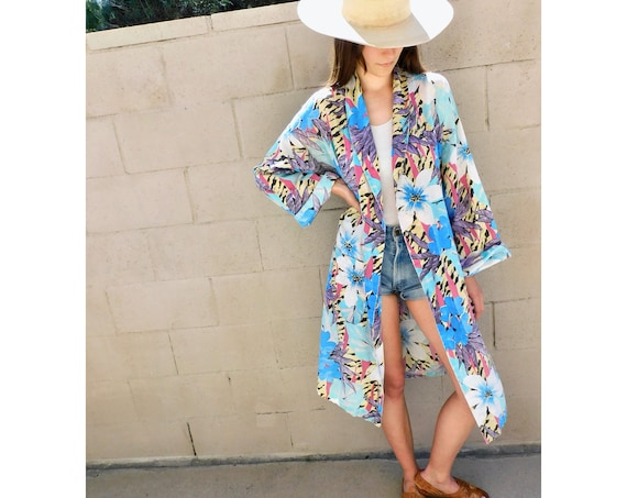 Jungalow Kimono Robe // vintage 80s dress hippie blouse jacket duster oversize beach cover tunic 1980s // O/S