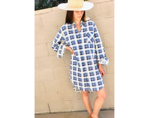 Berlin Shirt Dress // vintage 70s plaid flannel cotton boho hippie hippy sun 1970s country menswear oversize blouse // O/S