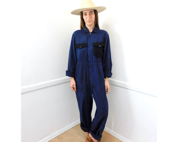 French Chore Coveralls // vintage 70s denim jumpsuit dungarees workwear overalls boho hippie work wear dress // O/S