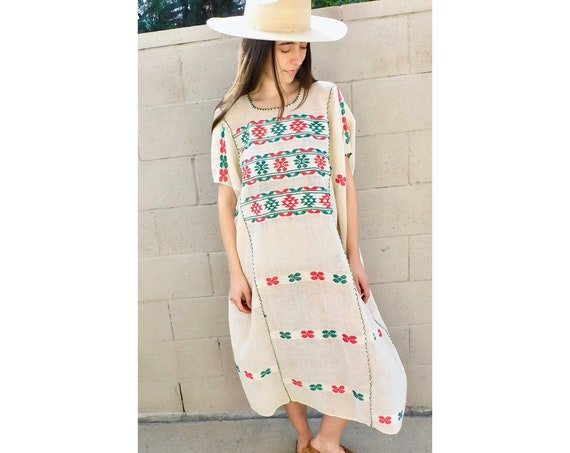 Oaxacan Huipil Dress // vintage 70s embroidered white boho hippie Mexican midi hippy 1970s woven cotton hand loomed // O/S