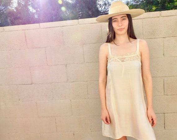 Silk Crochet Slip Dress // vintage crocheted top shirt slip boho hippie off white cream Victorian // S Small