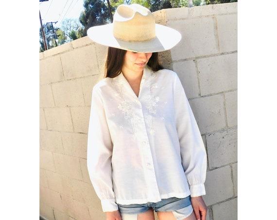 Hand Embroidered Blouse // vintage 70s ivory white cotton boho hippie dress hippy // O/S