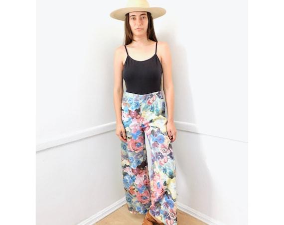Monet Palazzo Pants // vintage boho hippie 70s dress hippy 1970s trousers trouser 60s party floral high waist // O/S