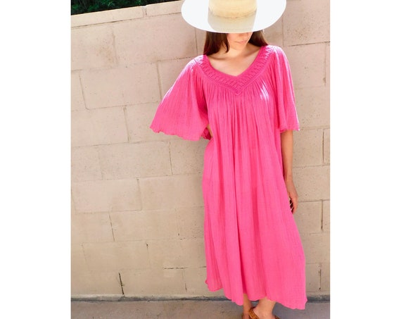 Greek Gauze Dress // vintage pink maxi 70s woven cotton boho hippie sun hippy 1970s // O/S