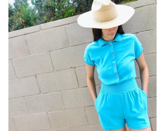 Valley Girl Romper // vintage jumpsuit high waist boho hippie shorts dress gym 80s // S Small